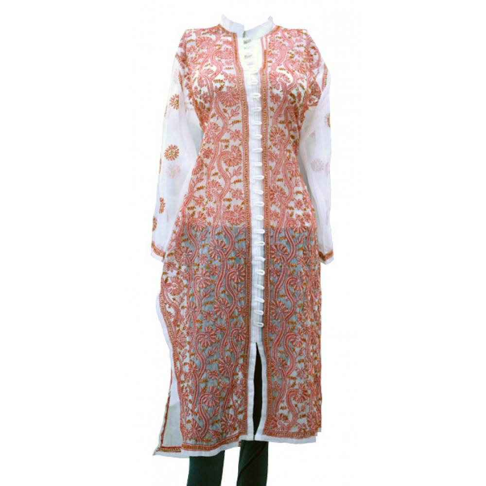 White Red Designer Chikan Kurti - Authindia
