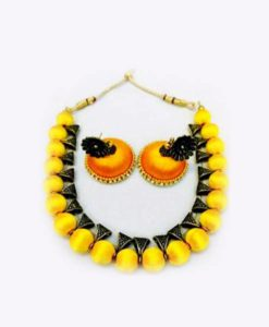 Yellow Silk Thread Necklace