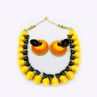 Yellow Silk Thread Necklace