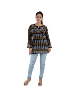 Black Chikan Top