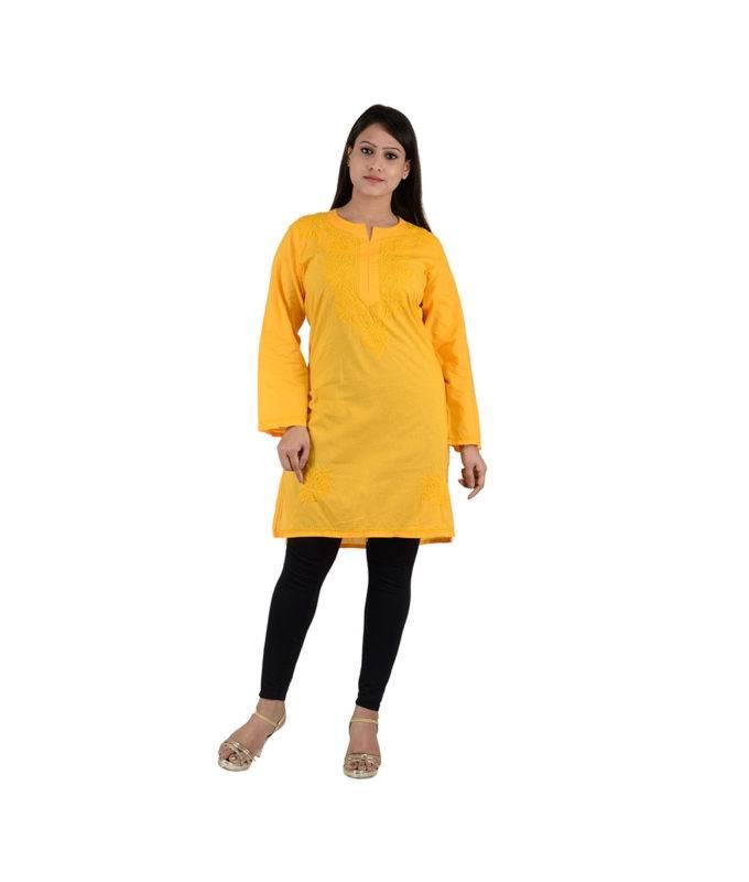Yellow Chikan Kurti Kashmiri