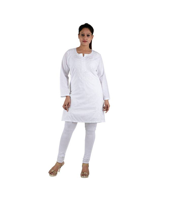 White Chikan Kurti Kashmiri