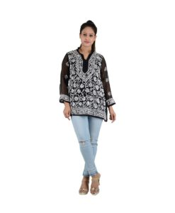 Chikan Top Black White