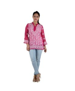 Pink Chikankari Short Top