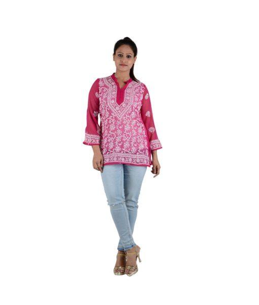 Pink Chikankari Short Top – 30 (1)