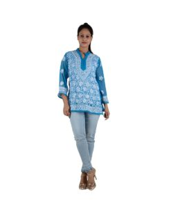 Blue Chikankari Short Top