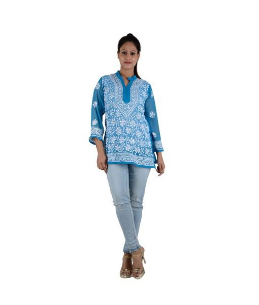 Blue Chikankari Short Top – 31 (1)
