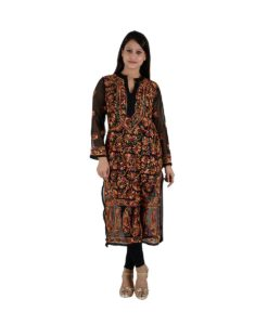 Multicolor Long Chikan Kurti
