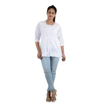 White Chikan Top Designer