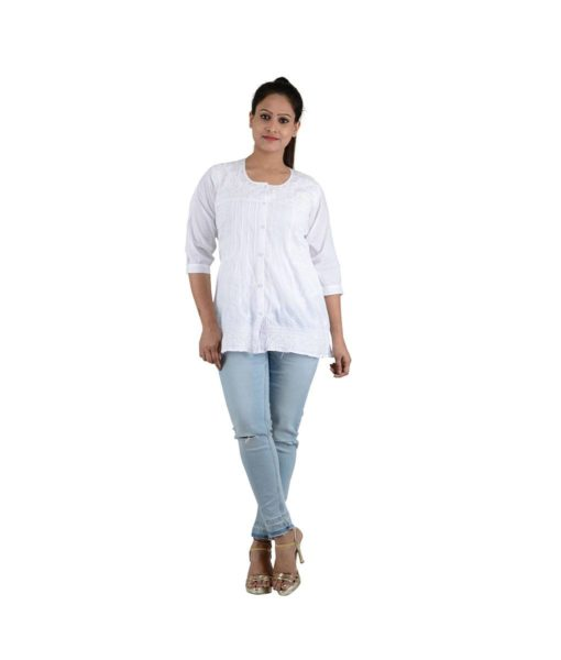 Chikan kurti white color with short shirt look 6 (1)